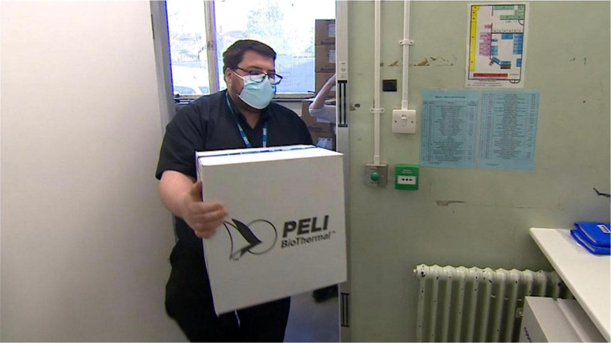 Pelican covid-19 vaccine arriving at UK hospoital