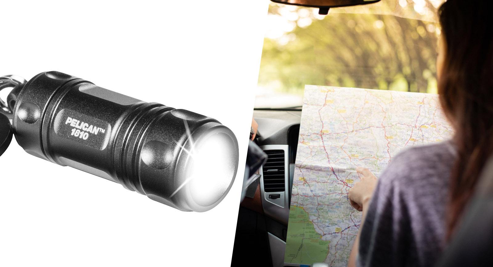 trip flashlight and map