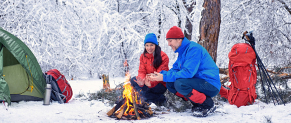 camping in the winter forest