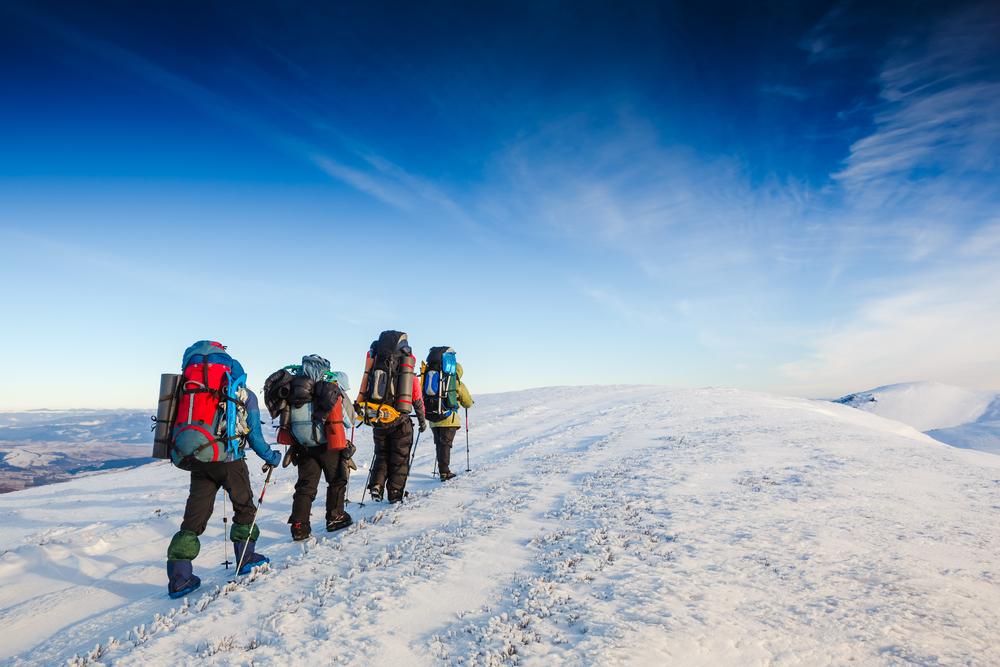 hiking winter mountains