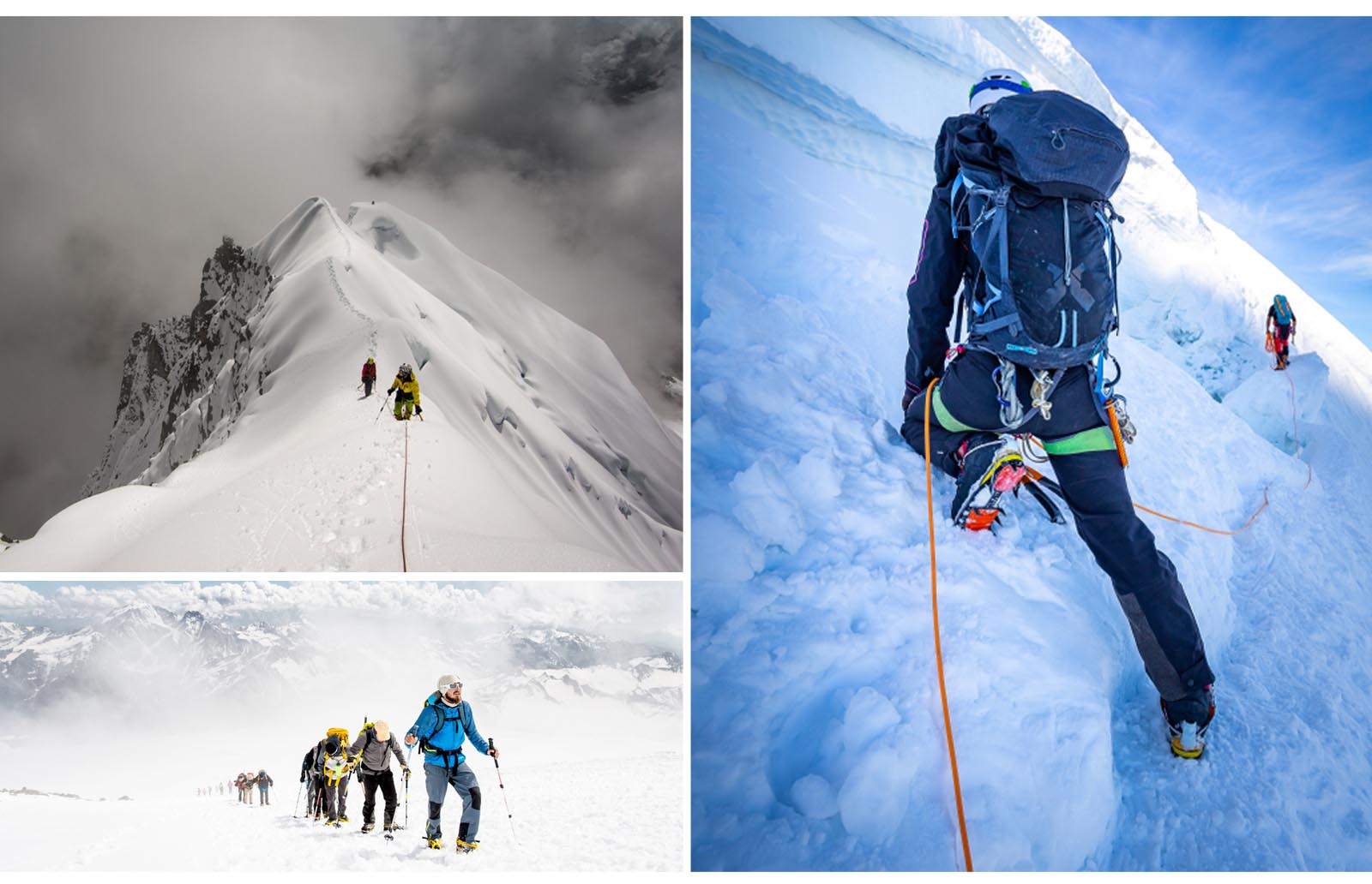 mountaineering in snow