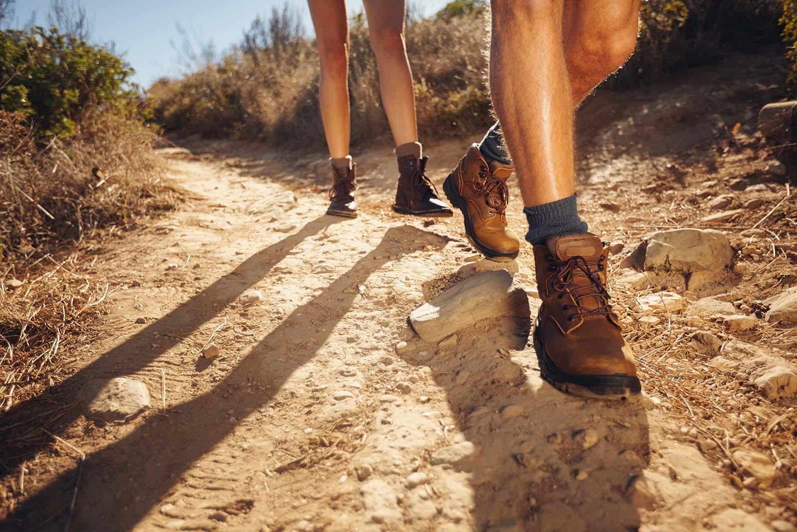 closeup hikers shoes