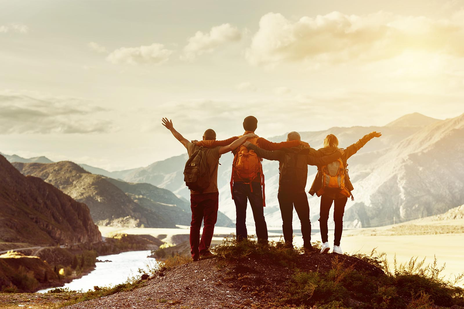 four friends mountain top