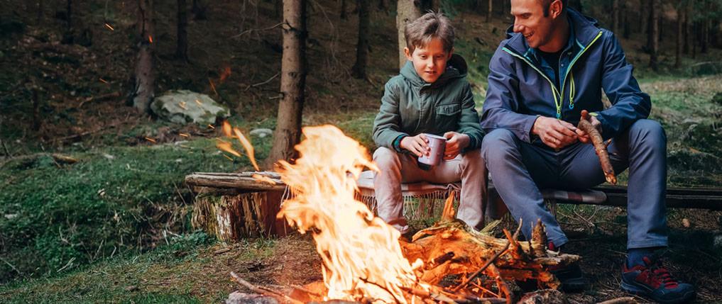 father son bonfire