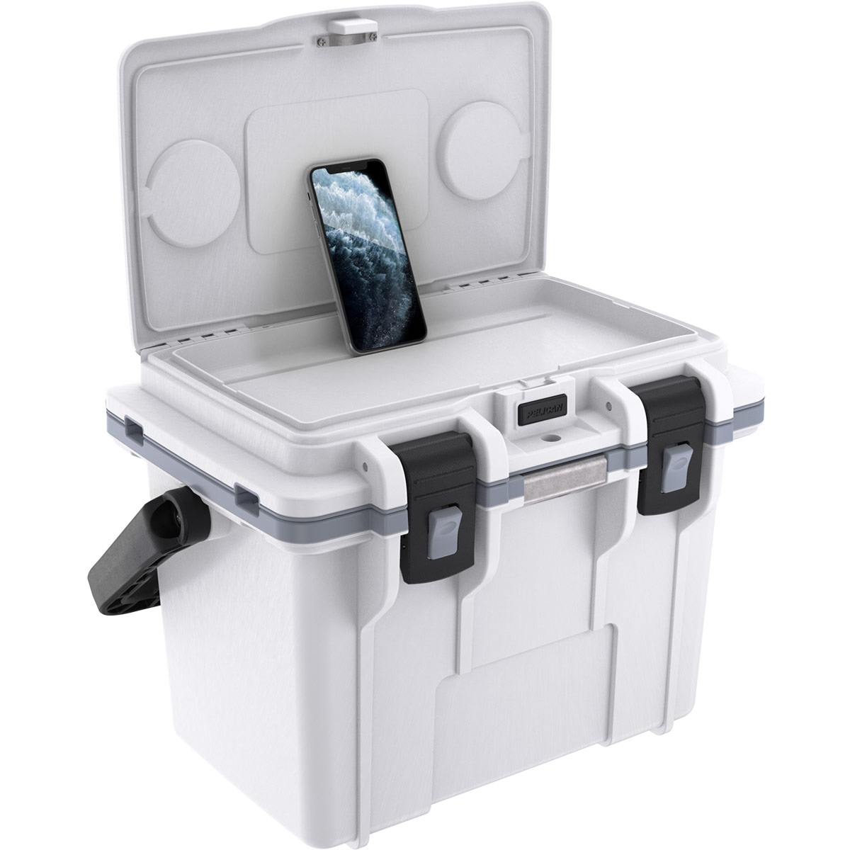 pelican 14qt white phone slot personal cooler