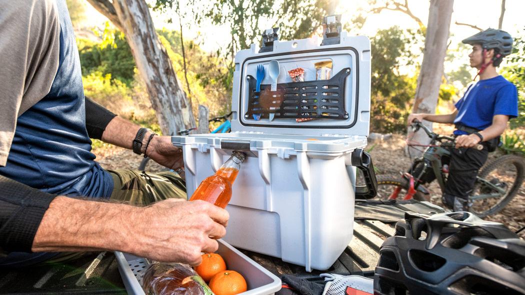 pelican 14qt work bottle opener cooler
