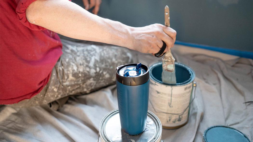 pelican 16oz blue drink steel tumbler