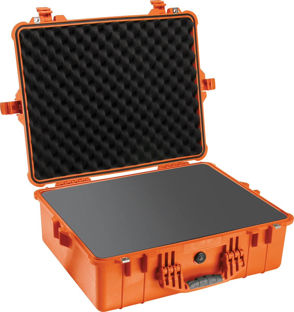 pelican 1600 orange watertight foam case