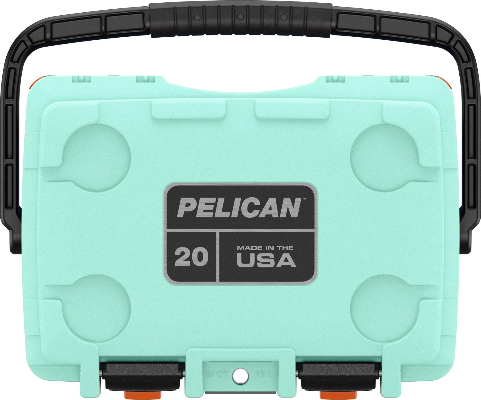 pelican camping cooler 20qt pacific blue orange seafoam