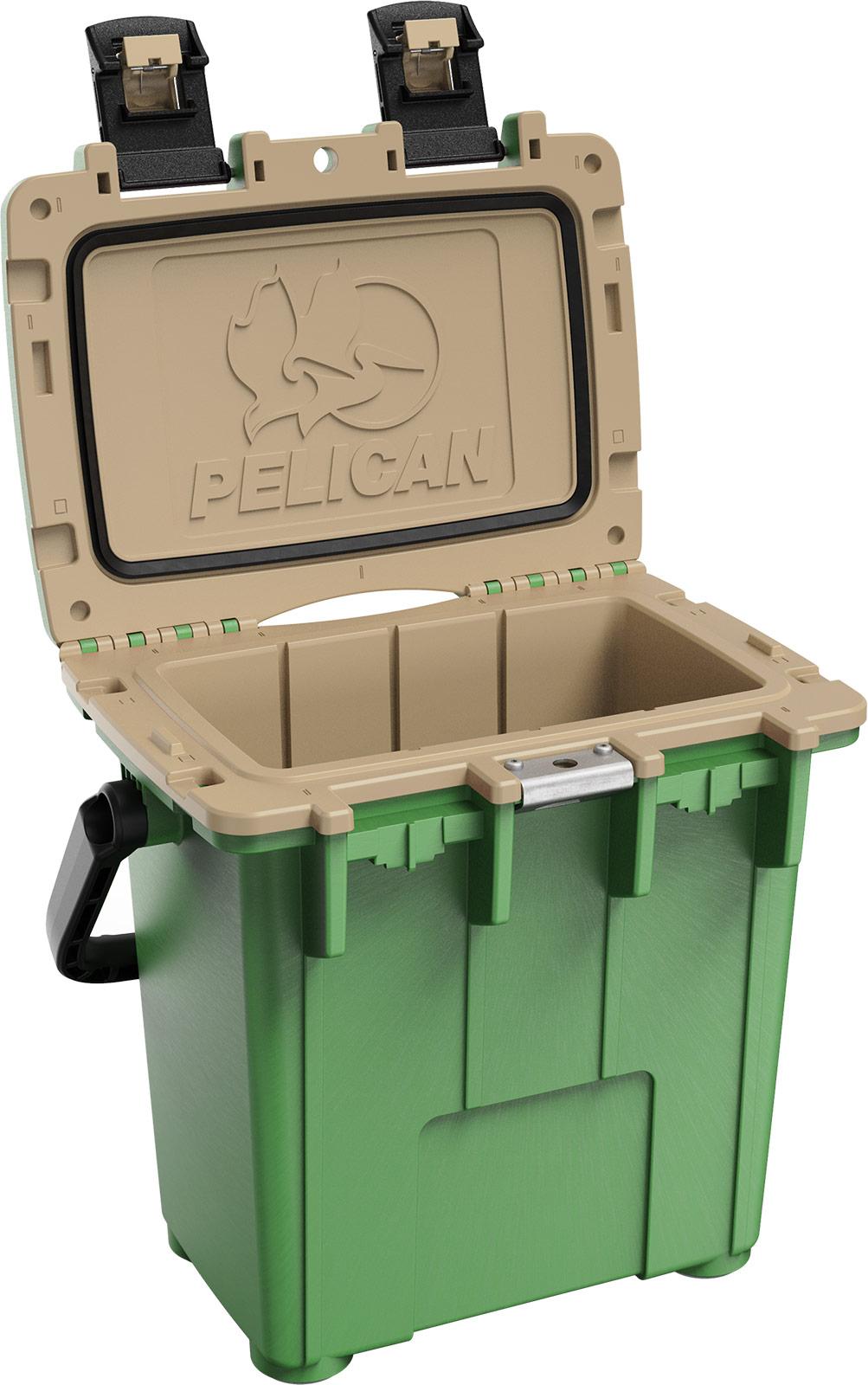 pelican green tan overland cooler 20qt