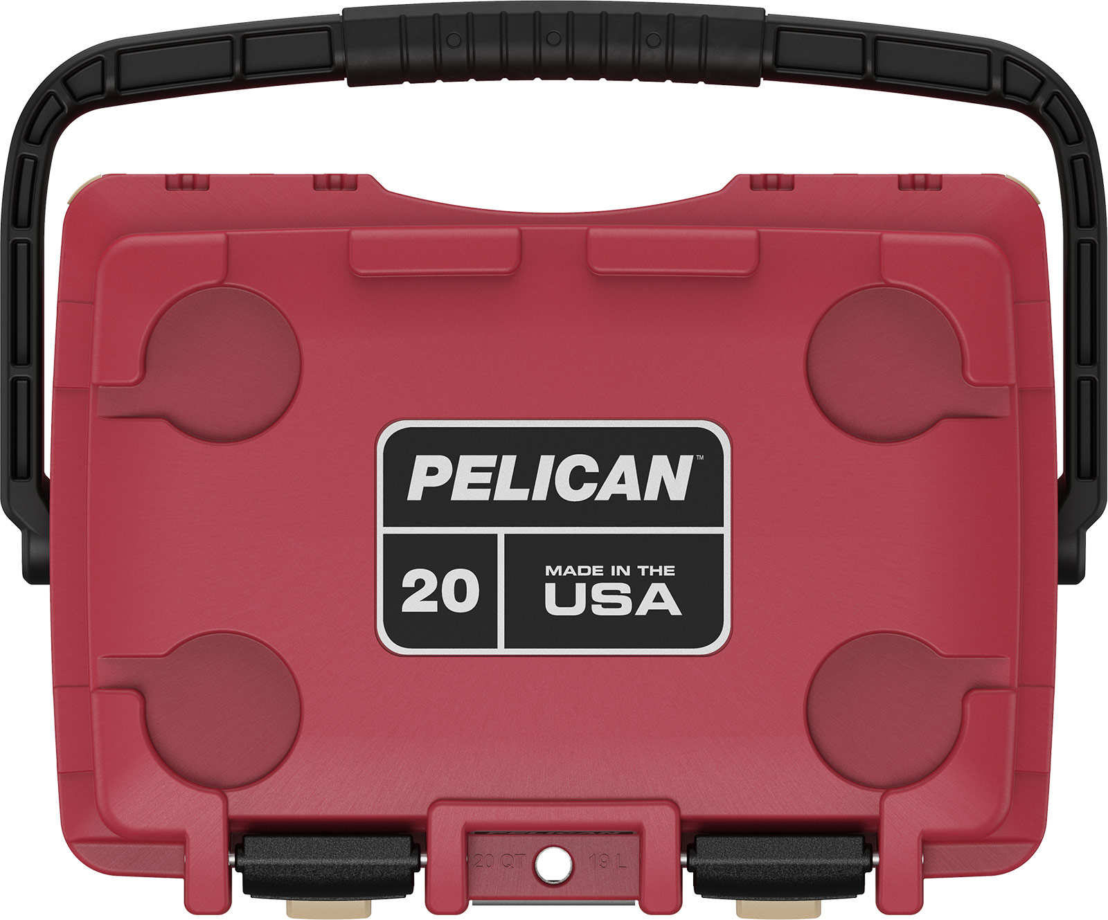 pelican red 20qt overland cooler camping