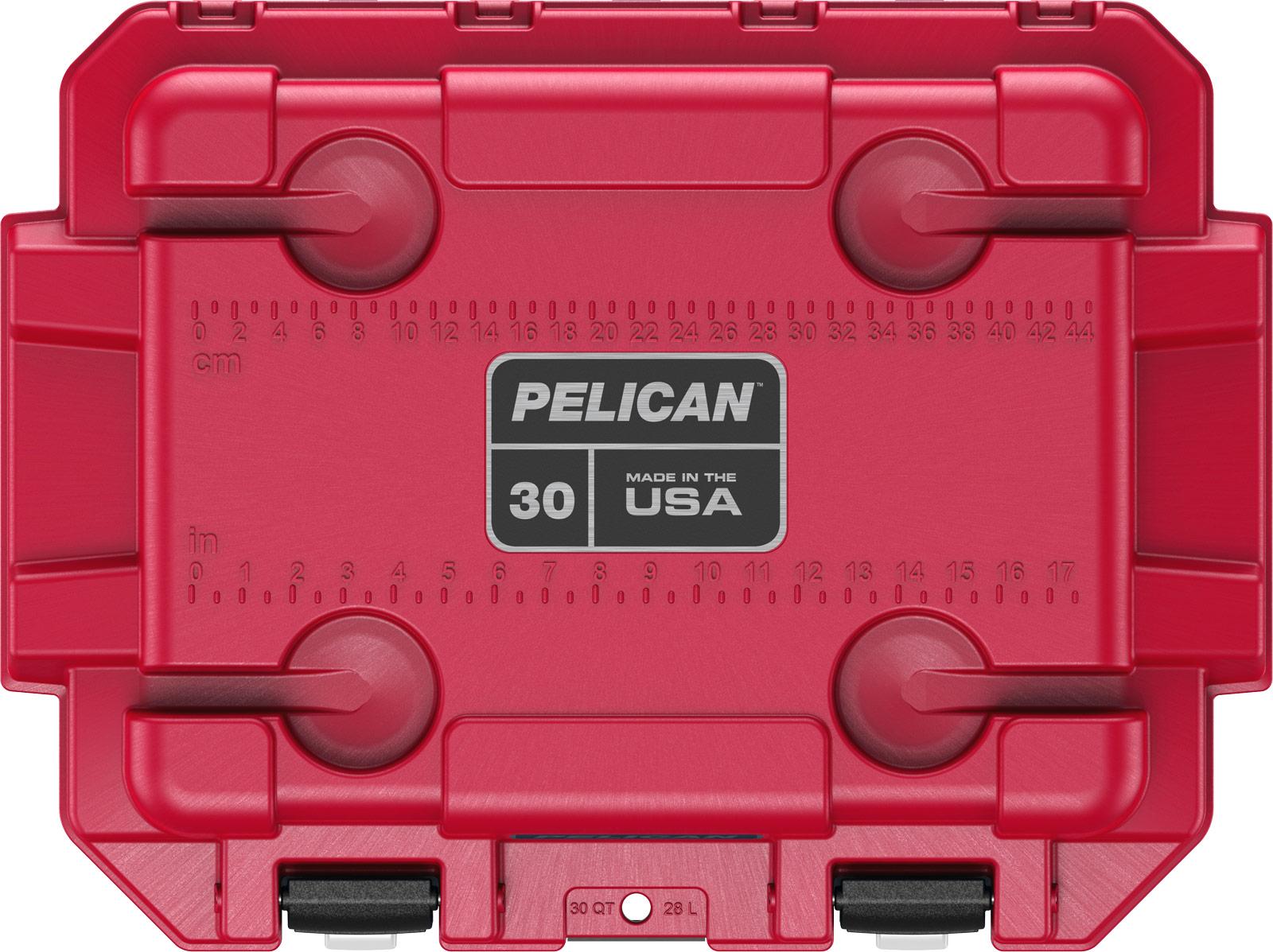 pelican camping cooler 30qt americana blue white red