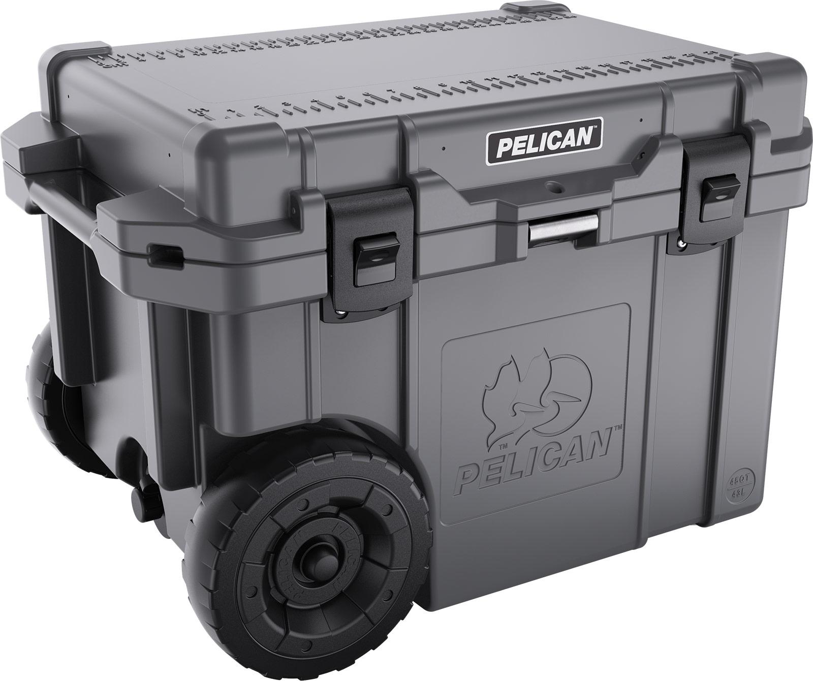 pelican 45 quart wheeled cooler dark grey graphite