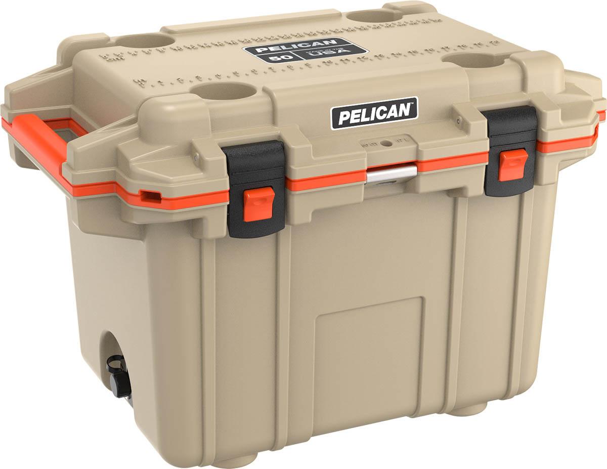 pelican tan super cooler 50qt ice chest