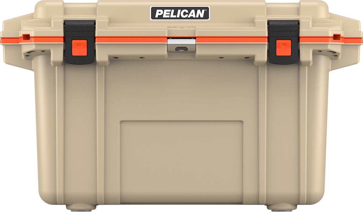 pelican 70qt tan outdoor cooler orange
