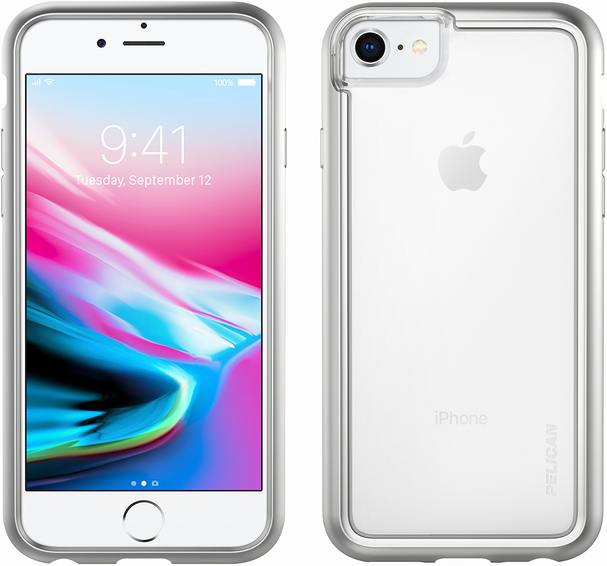 pelican silver clear iphone 8 case c35100
